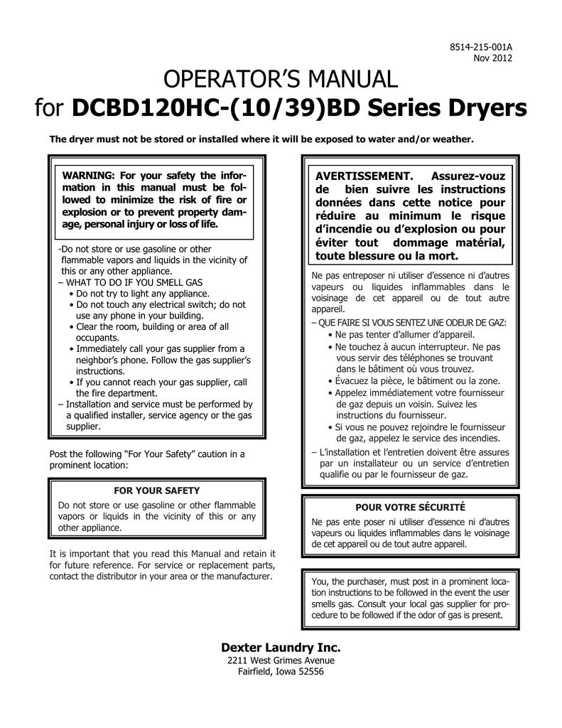 Operators Manual Dcbd120hc 10 39bd Series Dryers Avertissement Dexter Dryer Motor Wiring Diagram Assurez Vouz