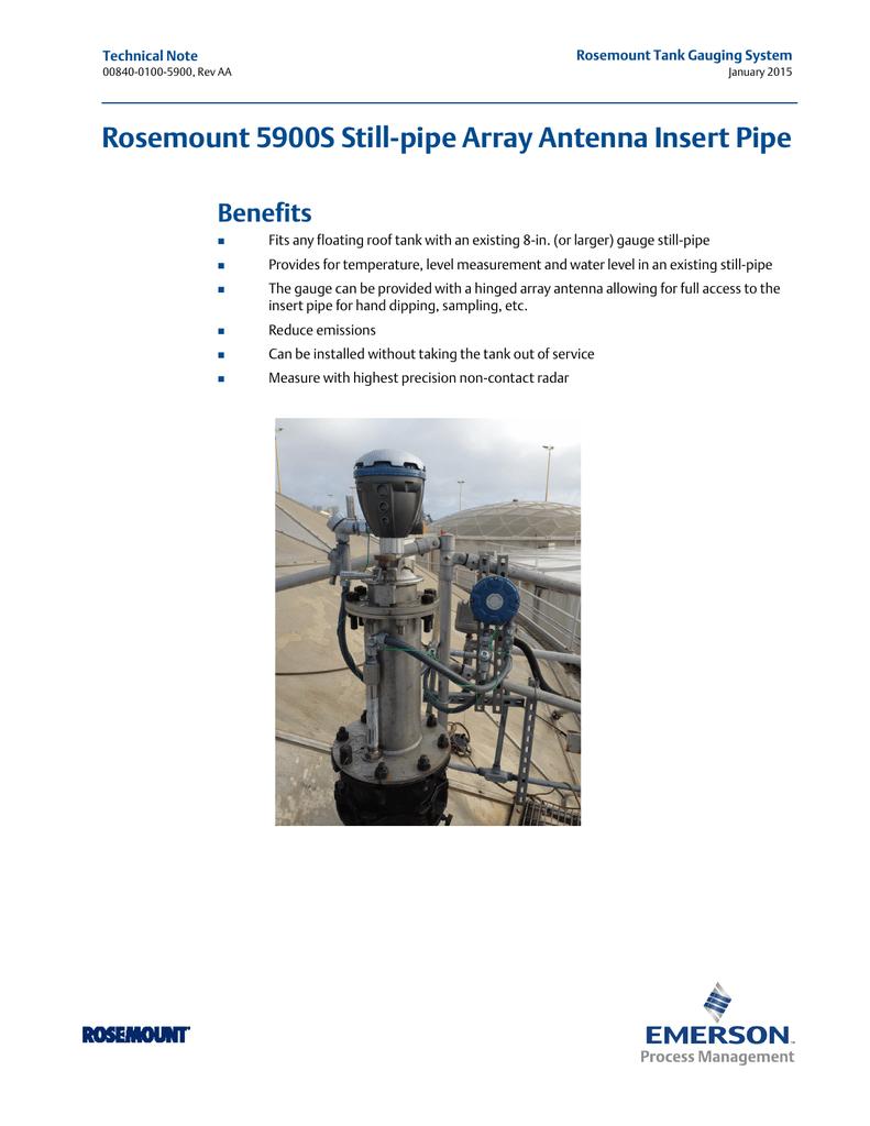Rosemount 5900S Still-pipe Array Antenna Insert Pipe