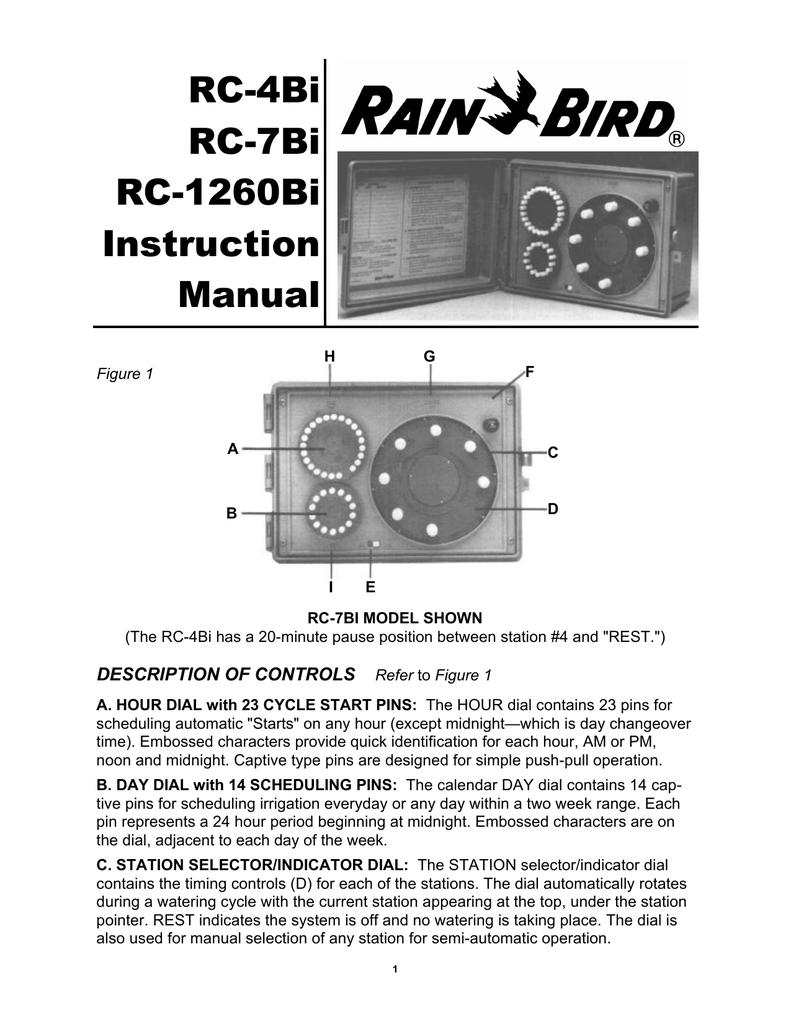 Rain Bird RC 4Bi RC 7Bi RC 1260Bi Controller | manualzz.com Rain Bird Sprinkler Rc Bi Wiring Diagram on