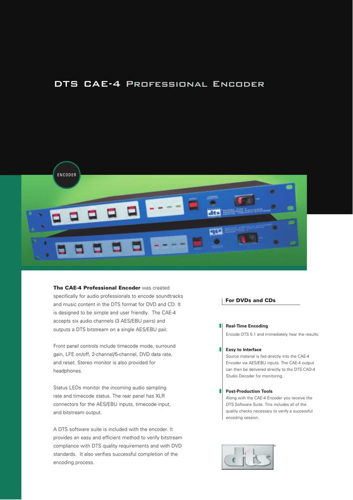 DTS CAE-4 Professional Encoder | manualzz com