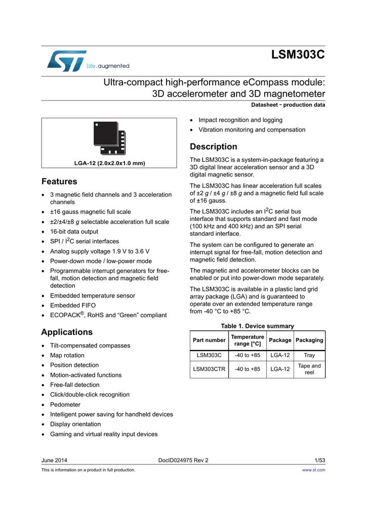 LSM303C Ultra-compact high-performance eCompass module: 3D