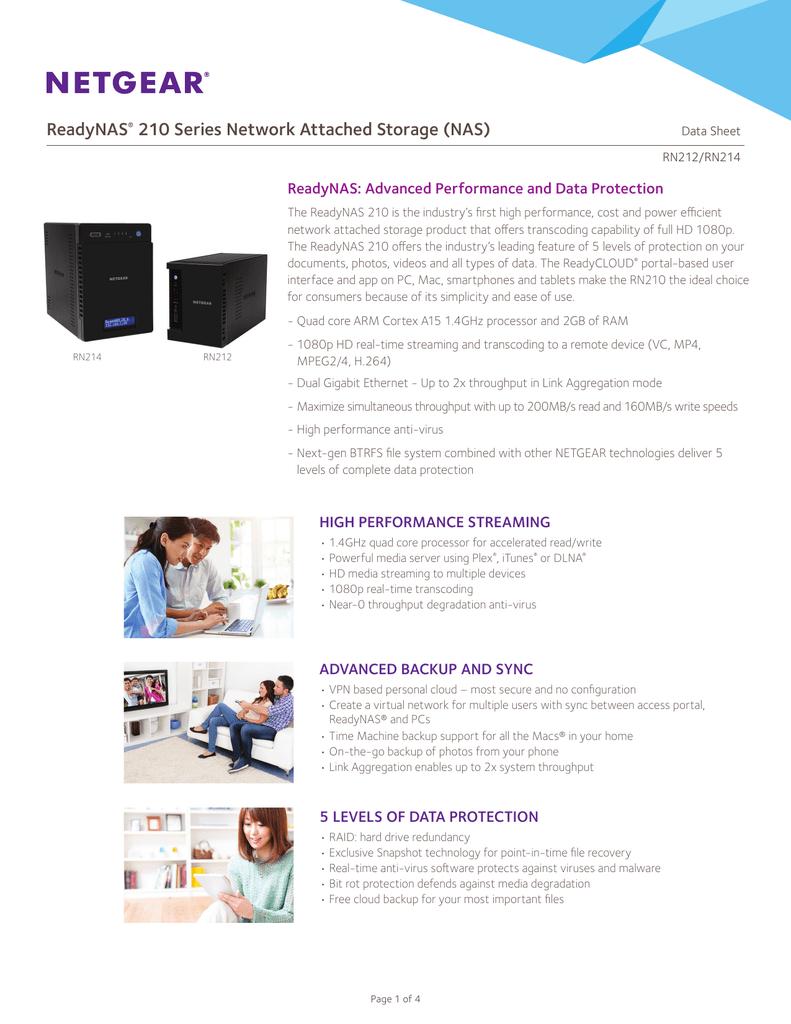 ReadyNAS 210 Series Network Attached Storage (NAS