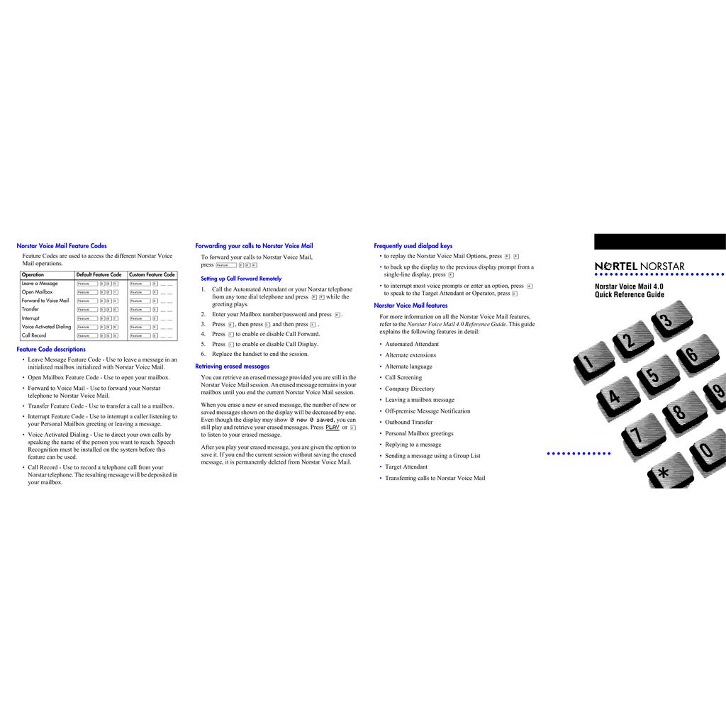 norstar voice mail 4 0 quick reference guide manualzz com rh manualzz com