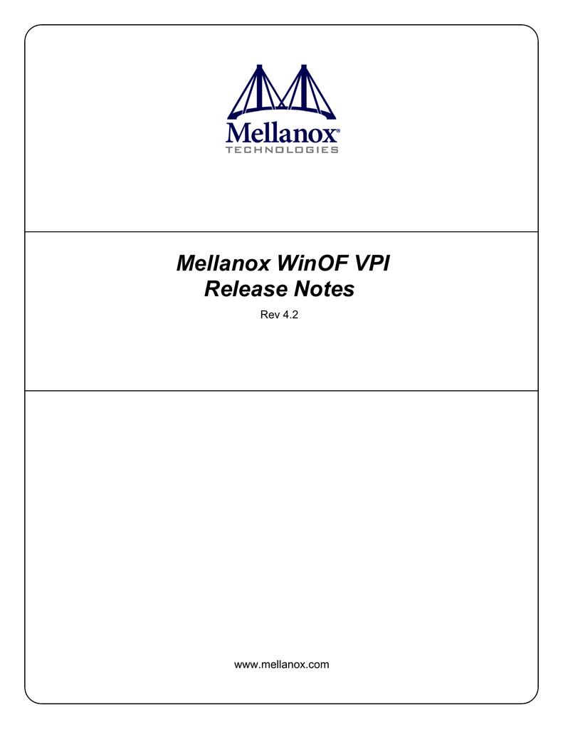 Mellanox WinOF VPI Release Notes Rev 4 2 www mellanox com | manualzz com