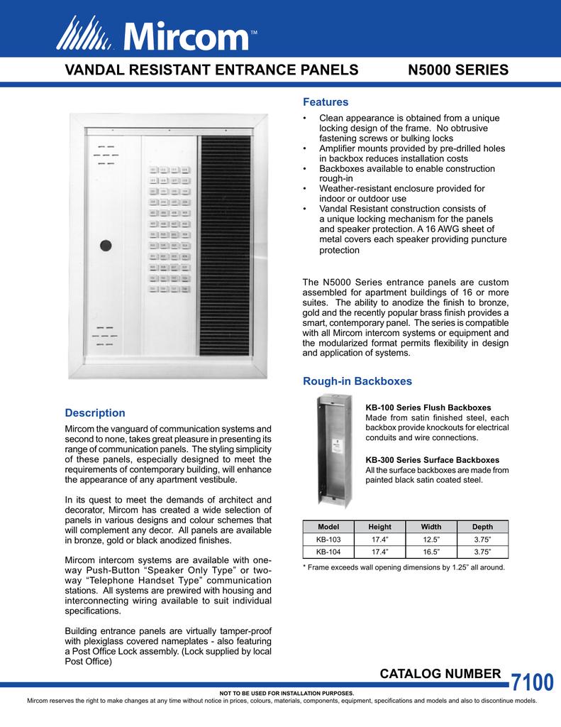 cat 7100 n5000 series vandal resistant entrance panels en rh manualzz com Wiring through Conduit Running Electrical Wire in Conduit