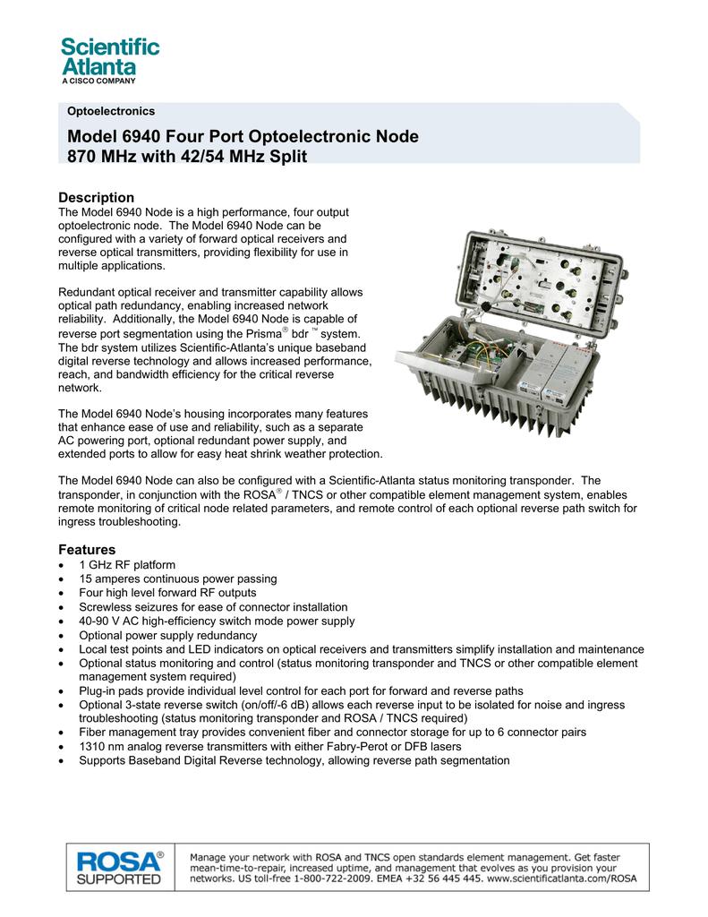 Model 6940 Four Port Optoelectronic Node Description