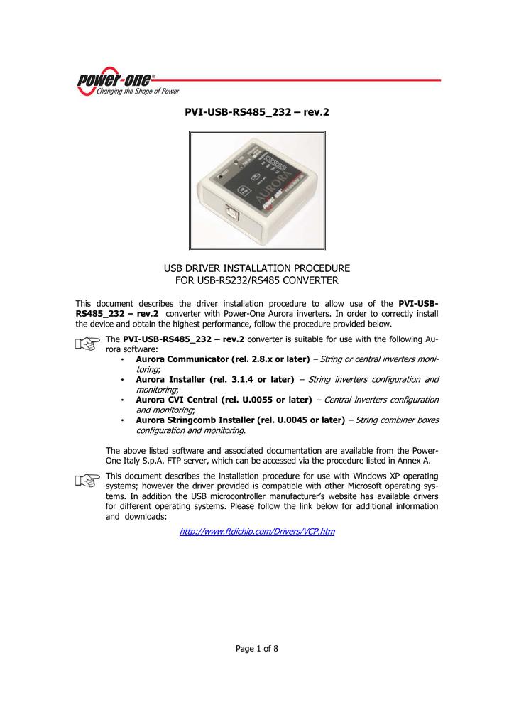 PVI-USB-RS232 485 WINDOWS 10 DRIVERS