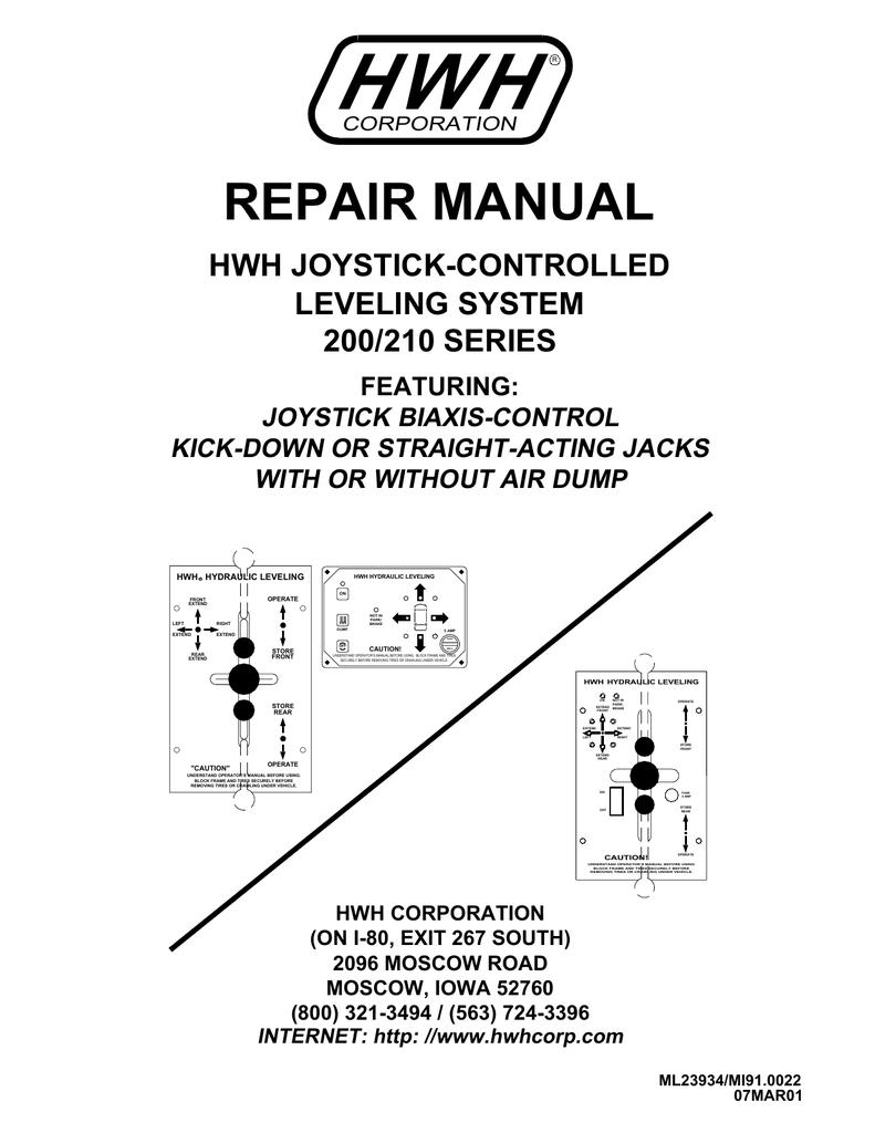 HWH 200 series Leveling System Service Manual | Manualzz | Hydraulic Leveling Jacks Wiring Diagram |  | Manualzz
