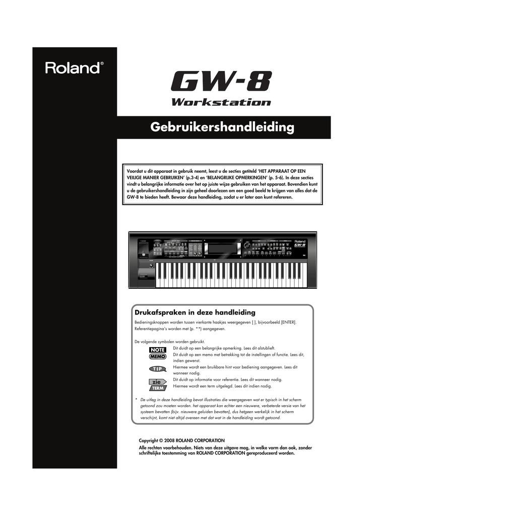 Nederlandstalige Handleiding Roland Gw 8 Manualzzcom