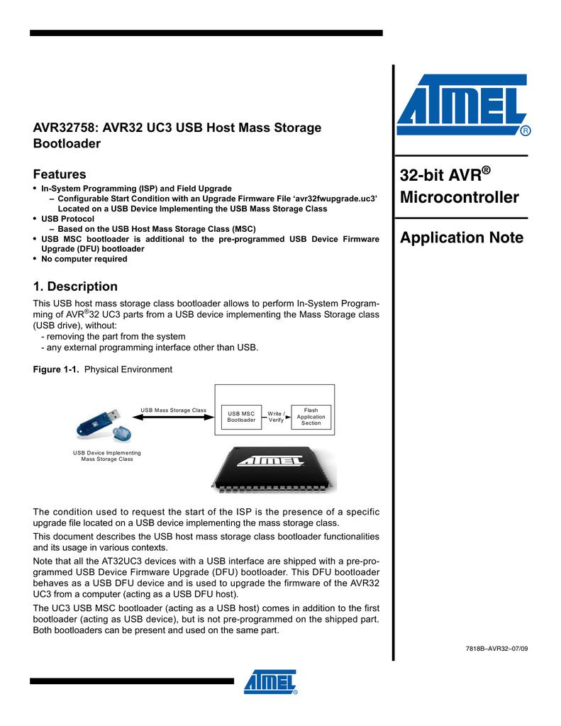 32-bit AVR Microcontroller AVR32758: AVR32 UC3 USB Host Mass