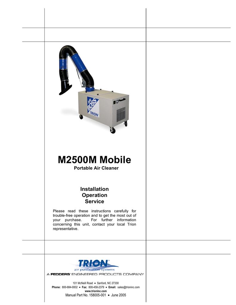 Trion M2500m Air Cleaner Owners Manual Fedders Handler Wiring Diagram