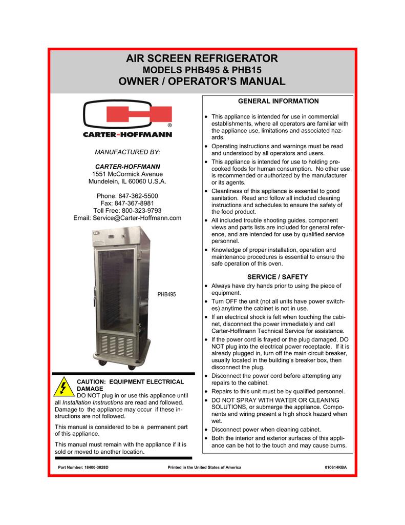 AIR SCREEN REFRIGERATOR OWNER / OPERATOR'S MANUAL MODELS PHB495 &