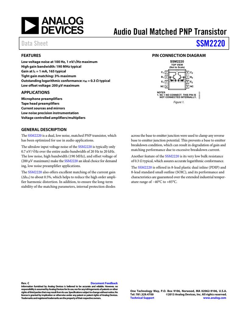 Audio Dual Matched Pnp Transistor Ssm2220 Data Sheet Features Diagram