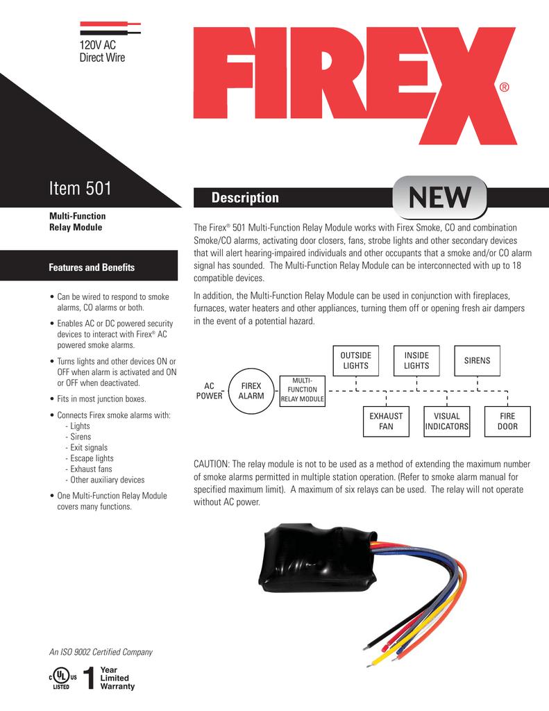 Firex 4618 Wiring Diagram Library Smoke Detector Item 501 Description 120v Ac Direct Wire Manualzzcom Kidde Hardwired Alarm