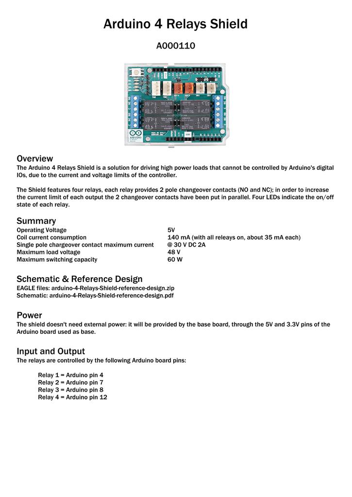 Arduino 4 Relays Shield A000110 Overview | manualzz com