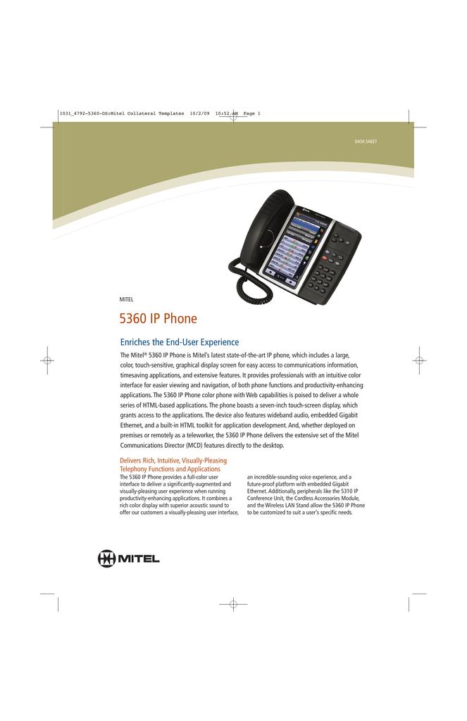 Mitel 5360 IP System Telephone Data Sheet | manualzz com