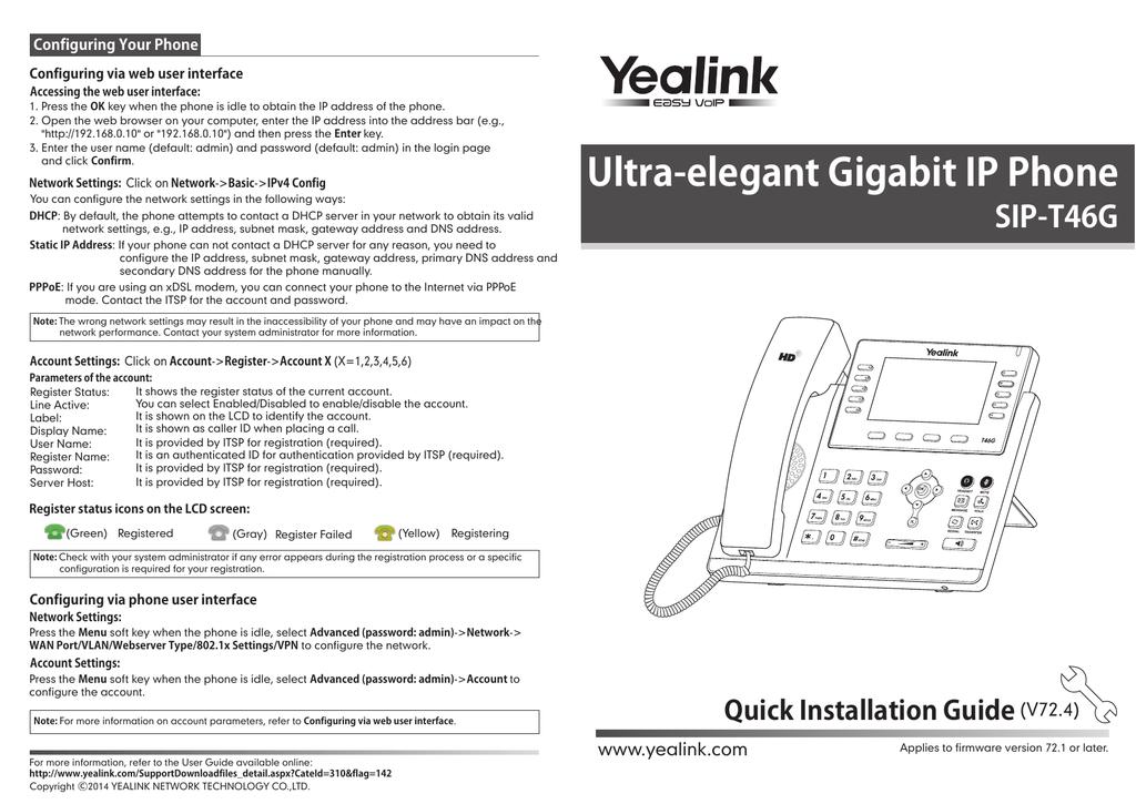 Yealink SIP-T46G Quick | manualzz com