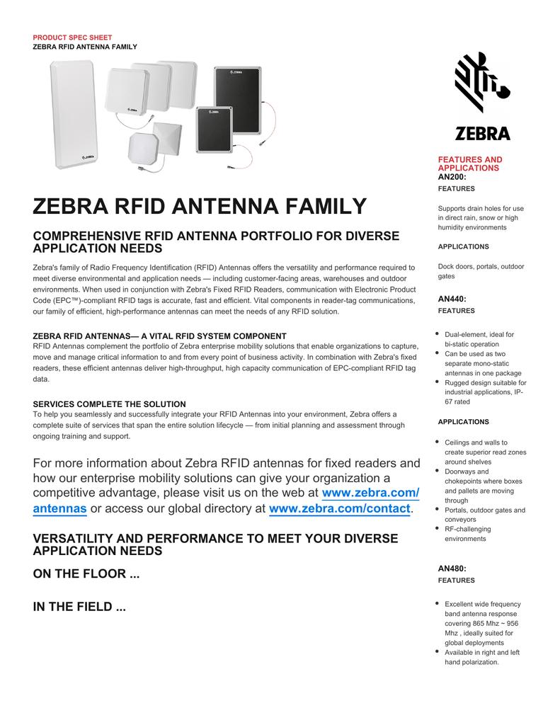 ZEBRA RFID ANTENNA FAMILY COMPREHENSIVE RFID ANTENNA
