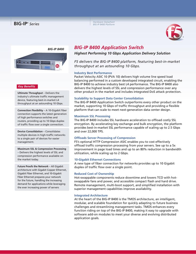 BIG-IP Application Switch 8400 Product Datasheet | manualzz com