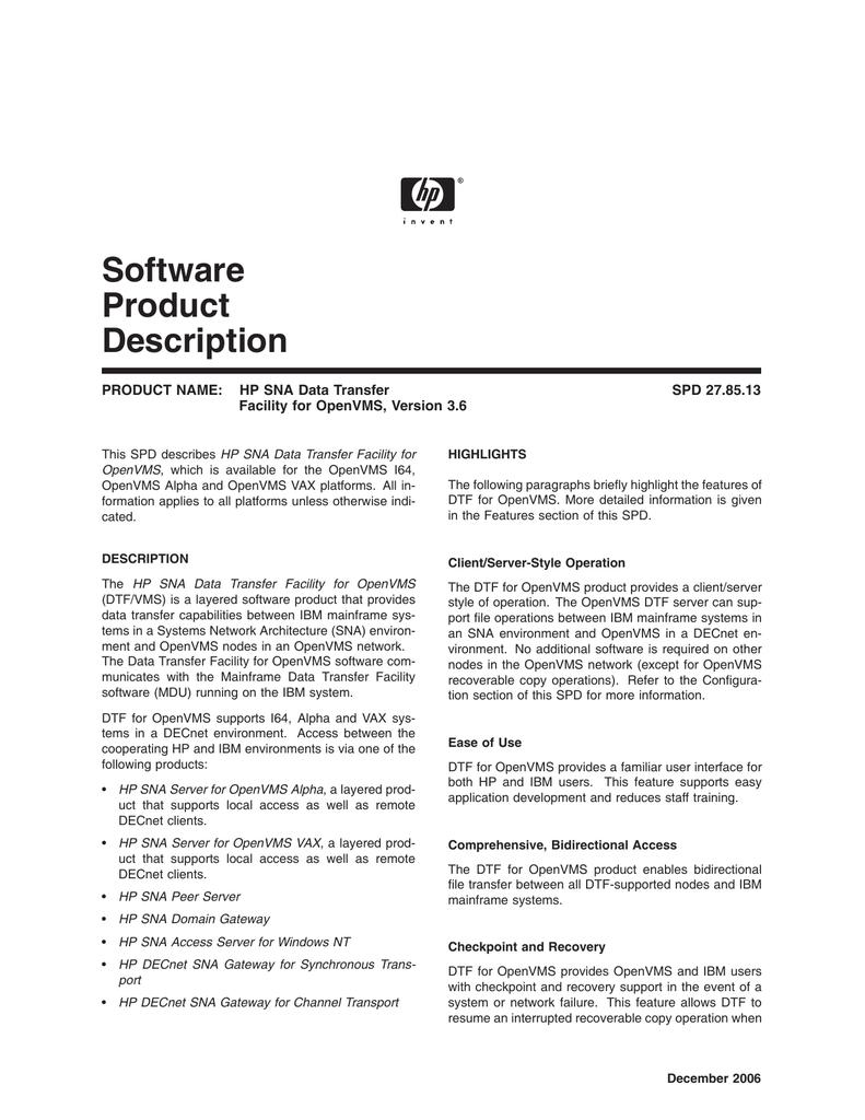 HP SNA Data Transfer Facility for OpenVMS | manualzz com