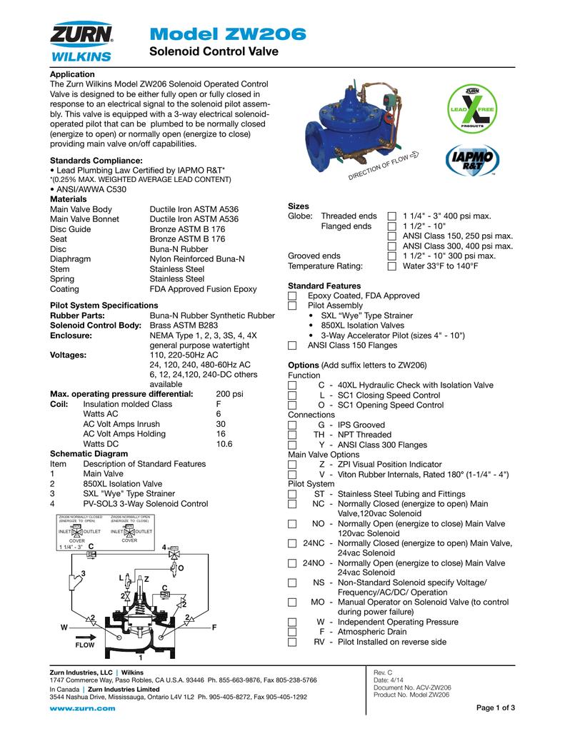 Model ZW206 Solenoid Control Valve   manualzz com