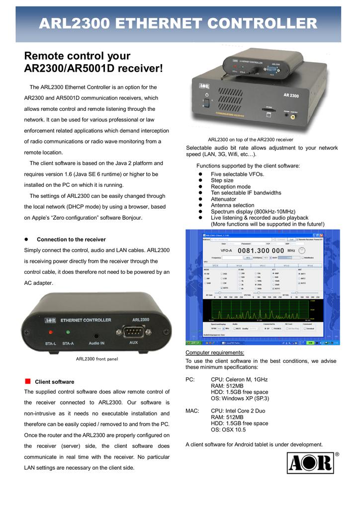 ARL2300 ETHERNET CONTROLLER Remote control your AR2300/AR5001D