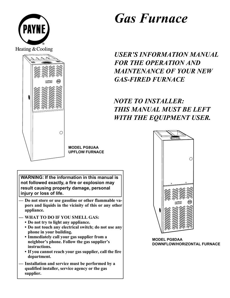 Payne Gas Furnace Manual Old Wiring Diagram Page 4