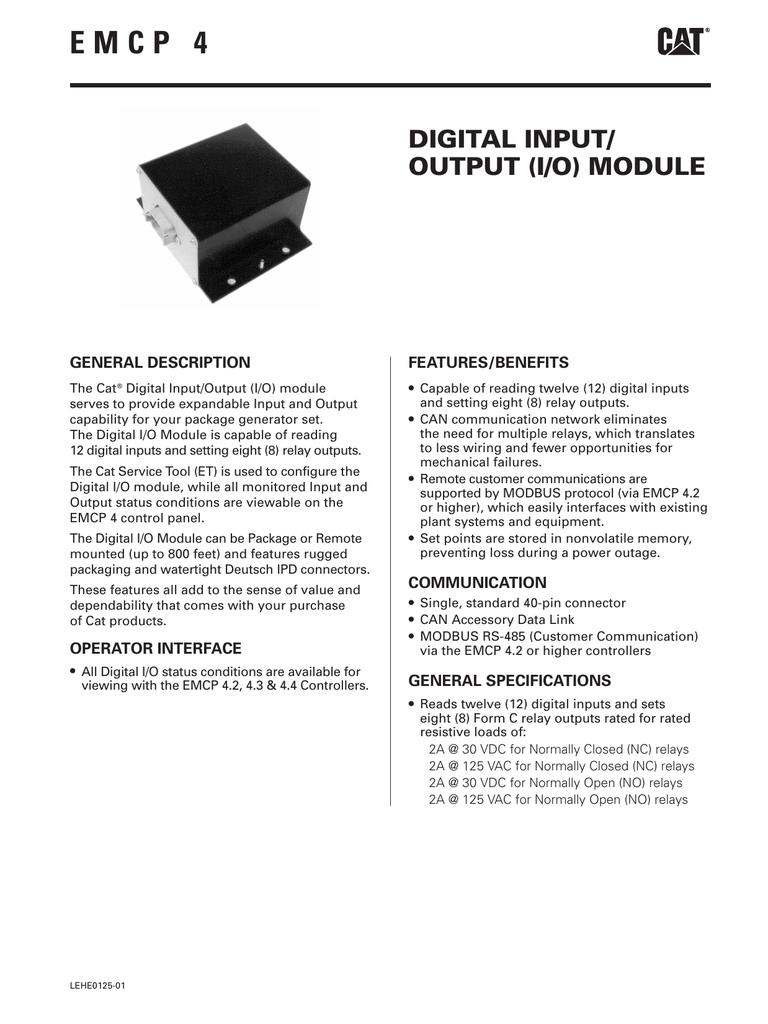 Emcp 4 Digital Input Output Module Lehe0125 01 Power Outage Relay