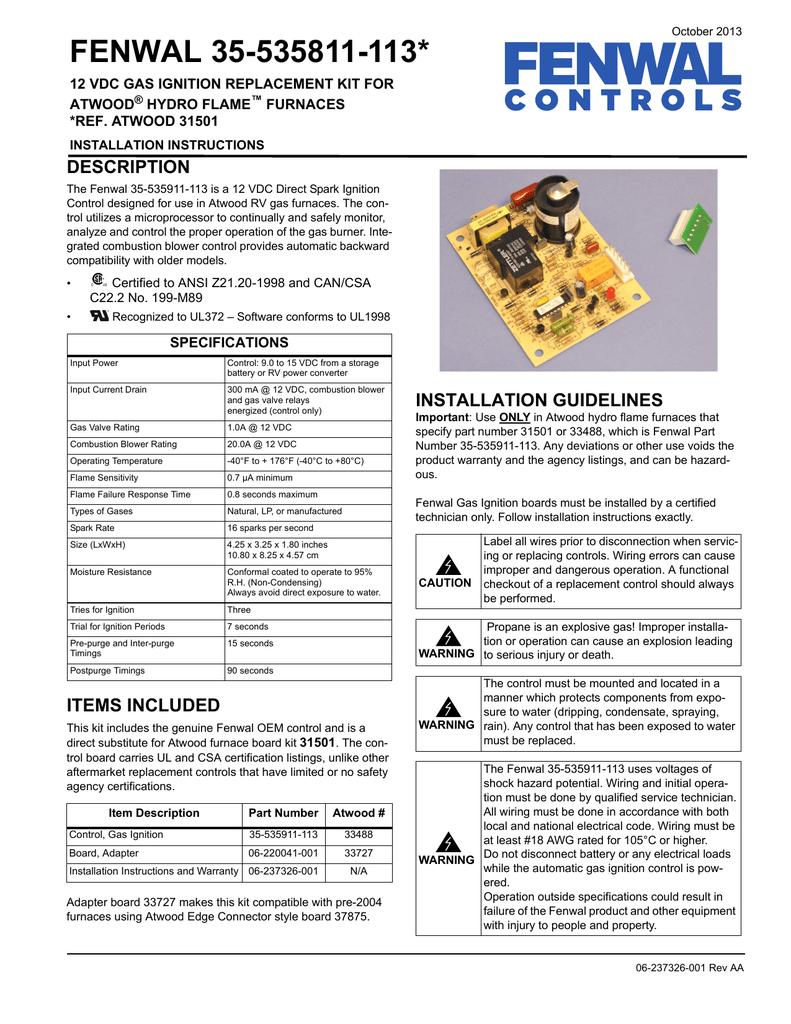 fenwal ignition module wiring diagram fenwal 35 535811 113 installation manual manualzz  fenwal 35 535811 113 installation