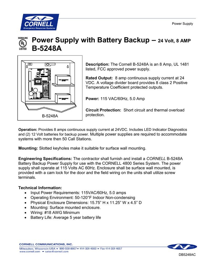 8 Amp Power Supply B Battery Backup Circuit