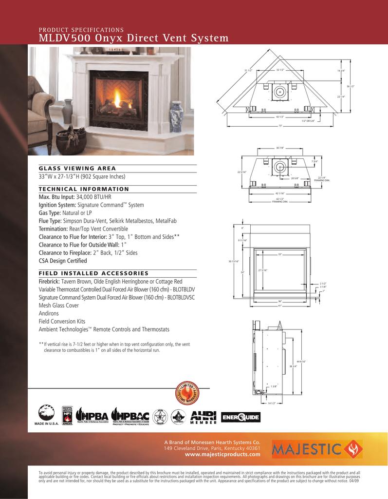 Majestic Onyx Direct Vent Gas Fireplace Specs Manualzz