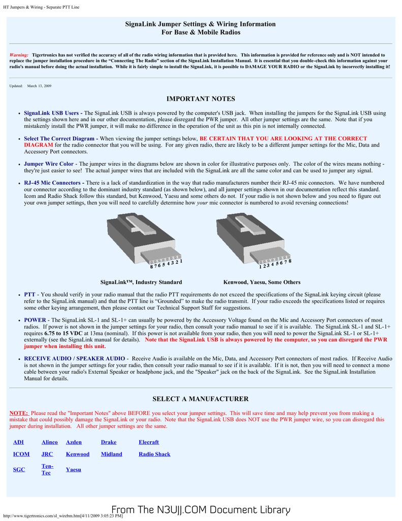 signalink jumper settings & wiring information