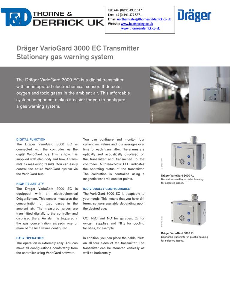 Drager Variogard 3000 EC Fixed Gas Detector | manualzz com