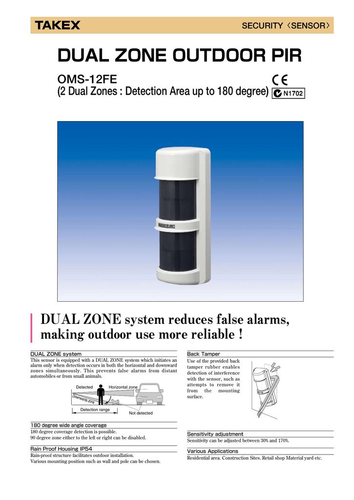 Takex 180deg 12m External Pir Tn01 Oms 12fe Manualzz Com