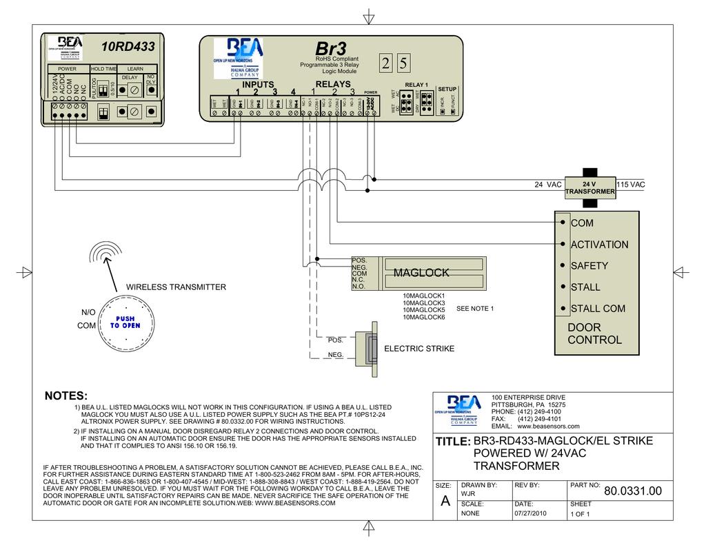 BR3, RD433, NON-UL | Manualzz | Bea Maglock Wiring Diagram |  | manualzz