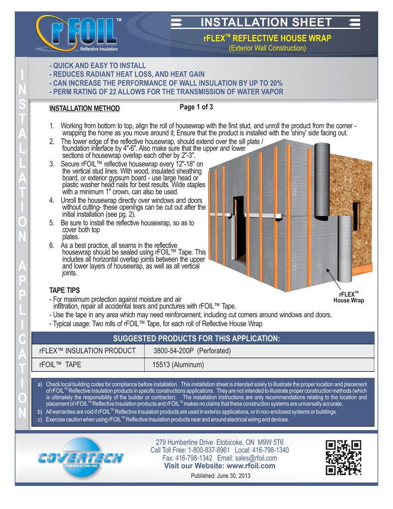 Rflex Reflective House Wrap Exterior Wall Construction Manualzz