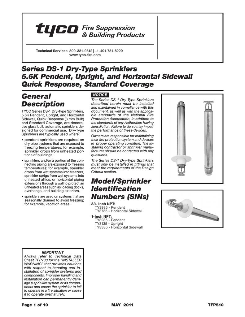 DS-1 (QR) Dry Type Sprinkler Standard Coverage Pendent