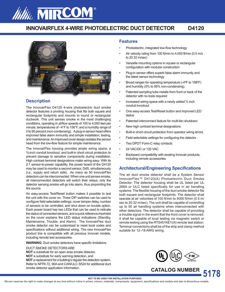 Cat 5178 D4120 Innovairflex 4 Wire Photoelectric Duct Detector En