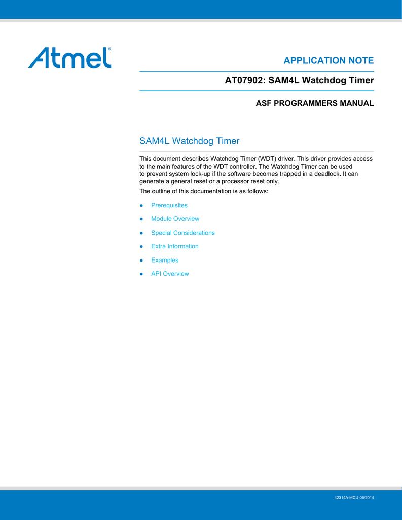 View detail for Atmel AT07902: SAM4L Watchdog Timer