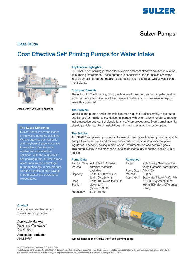 Case Study - Cost Effective Self Priming Pumps for | manualzz com