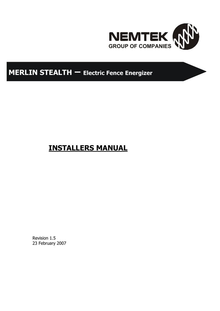 installers manual merlin stealth