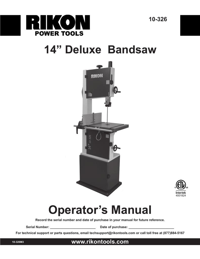 operators manual 14 deluxe bandsaw 10 326 manualzzcom