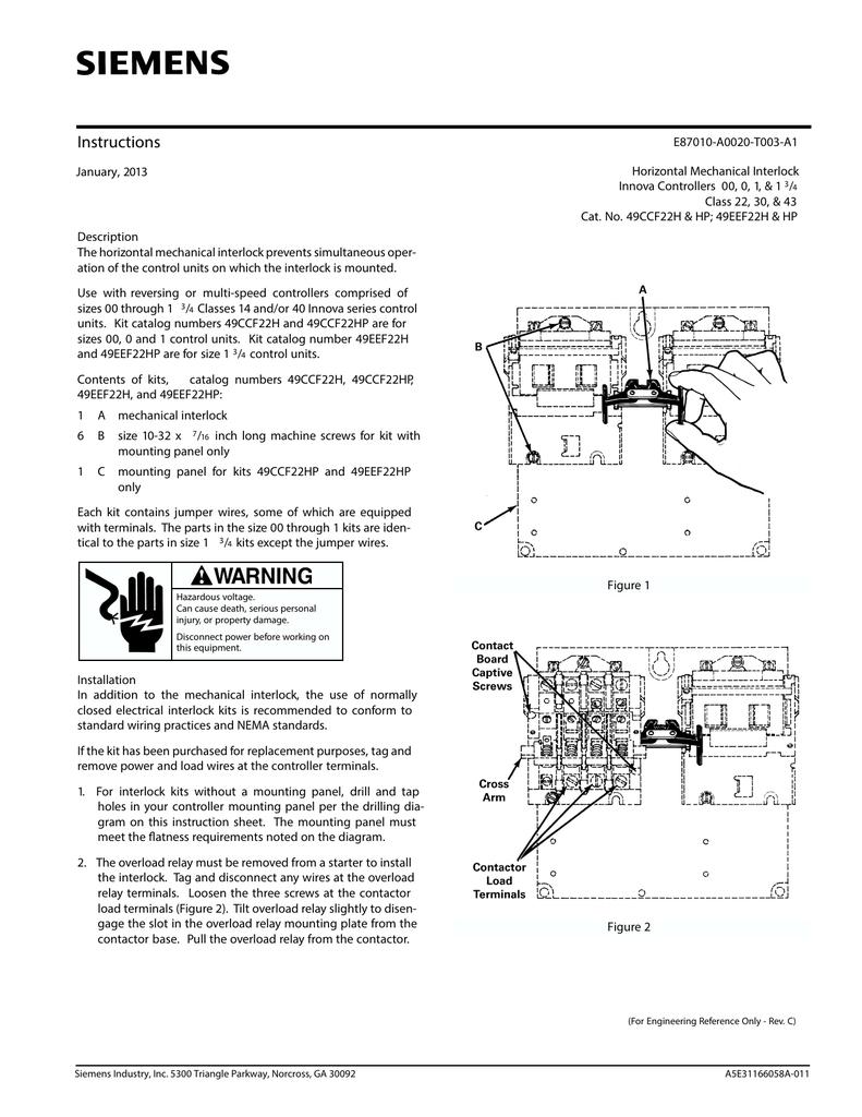 Horizontal Mechanical Interlock Innova Controllers Sz 00 175 Understanding A Size Contactor Wiring 49ccf22h Hp 49eef22h Pub E87010 A0020 T003 A1 Doc A5e31166058a 011