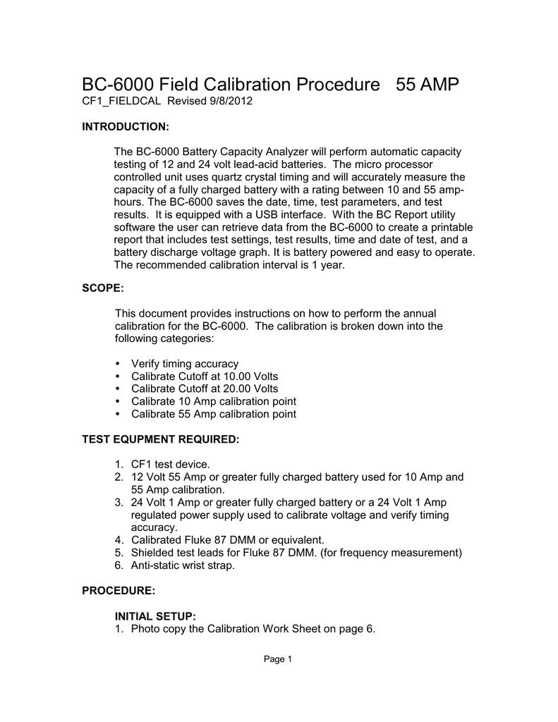 BC-6000 Field Calibration Procedure 55 AMP (Rev  9/8/2012