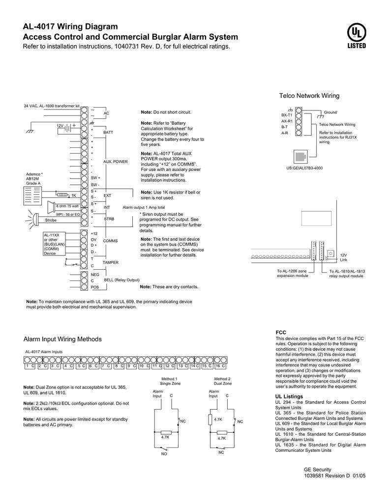 Al4017 Dwg Alarm Transformer Wiring Diagram