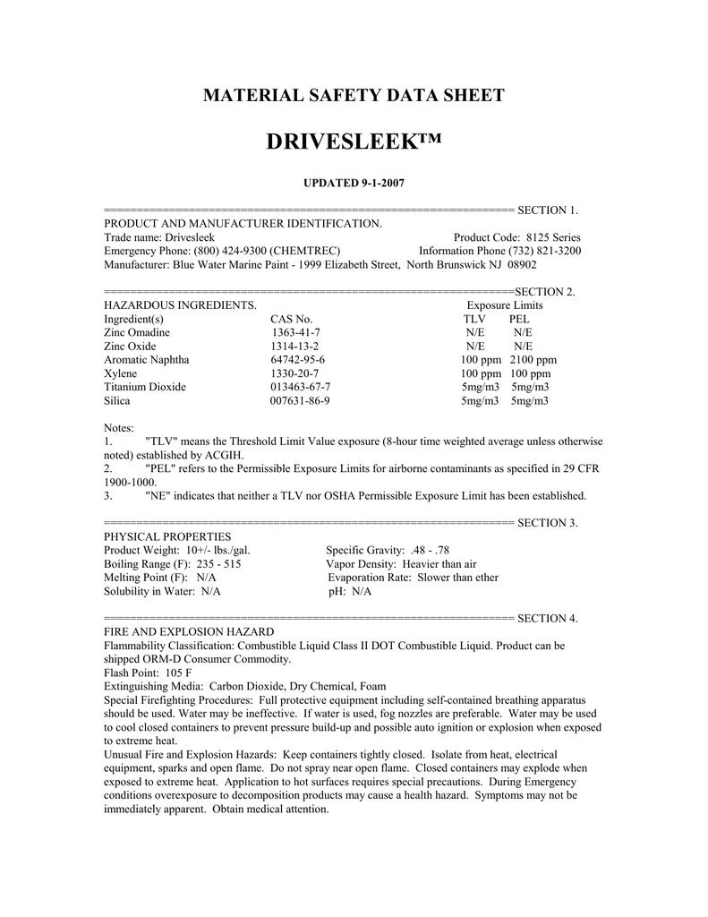 Drivesleek MSDS | manualzz com