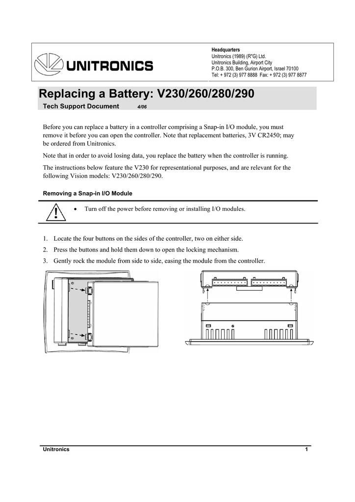 Replacing a Battery V2xxx | manualzz com