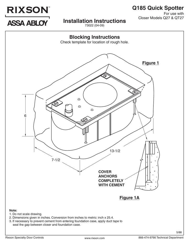Rixson Q Closer Models Floor Plate Installation Instructions