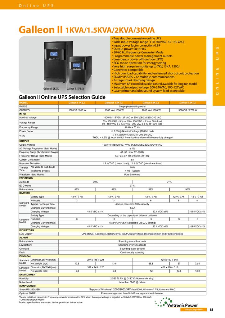 Galleon II 1KVA/1 5KVA/2KVA/3KVA ONLINE UPS   manualzz com