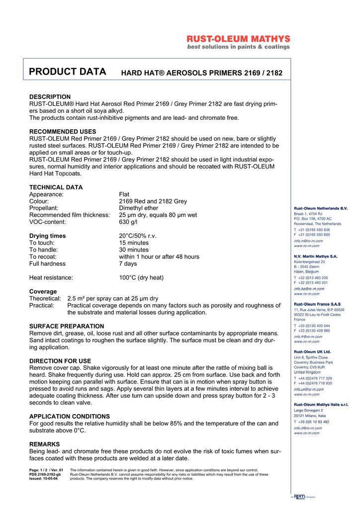 Rust Oleum Hard Hat Primer.Product Data Hard Hat Aerosols Primers 2169 2182 Manualzz Com